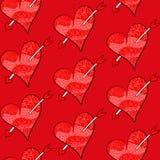 Bezszwowy walentynka wektoru wzór czerwoni serca Fotografia Stock
