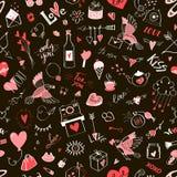 Bezszwowy walentynki ` s dnia wzór z doodle elementami Obraz Royalty Free