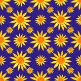 Bezszwowy watercolour słoneczników wzór na błękitnym tle również zwrócić corel ilustracji wektora Obrazy Royalty Free