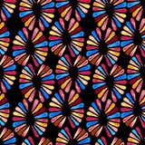 Bezszwowy watercolour wzór z retro 3 colours kwiatami na czerni Zdjęcia Stock