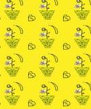 Bezszwowy waza wzór z żółtym tłem ilustracji