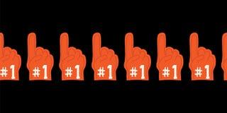 Bezszwowy wektor granicy piany palec z liczby jeden tekstem Wspierać sport drużyny symbol Dla wydarzeń sportowych, futbol, piłka  ilustracja wektor