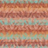 Bezszwowy wektor paskował deseniowego tło z liśćmi w miedzianych kolorach ilustracji