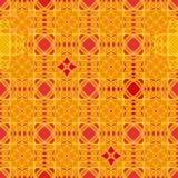 Bezszwowy wektorowy abstrakcjonistyczny geometryczny wzór w żywej pomarańczowej czerwieni i kolorze żółtym ilustracja wektor