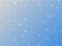 Bezszwowy wektorowy biały opadu śniegu skutek na błękitnym przejrzystym horyzontalnym tle Narzuta płatka nowego roku lub bożych n royalty ilustracja