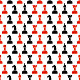 Bezszwowy wektorowy chaotyczny wzór z czarnymi i czerwonymi szachowymi kawałkami na whitebackground Fotografia Royalty Free