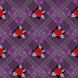 Bezszwowy wektorowy czeka tło z bukietami fiołek kwitnie na tartanu tle ilustracja wektor