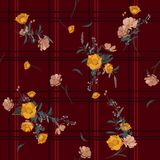 Bezszwowy wektorowy czeka tło z bukietami kwiaty royalty ilustracja