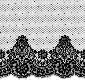 Bezszwowy Wektorowy czerni koronki wzór Zdjęcia Stock