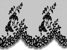 Bezszwowy Wektorowy czerni koronki wzór Zdjęcia Royalty Free