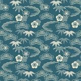 Bezszwowy wektorowy japoński tradycyjny deseniowy projekt błękitny colour projekt dla zawijać, wnętrze, tkanina ilustracja wektor