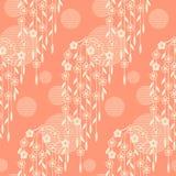 Bezszwowy wektorowy japoński tradycyjny deseniowy projekt Brzoskwini Colour projekt dla zawijać, wnętrze, tkanina ilustracji