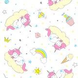 Bezszwowy wektorowy jednorożec wzór dla dzieciaków tkanina, druki, wallpapper, sccrapbooking ilustracji