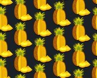 Bezszwowy wektorowy kolorowy tło z ananasem w płaskim projekcie Obraz Royalty Free