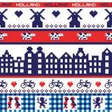 Bezszwowy wektorowy piksla Holandia wzór Fotografia Royalty Free