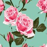 Bezszwowy wektorowy projekta wzór układał od różowych róż ilustracja wektor