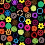 Bezszwowy wektorowy przekładni i cogwheel retro kolor Zdjęcia Royalty Free