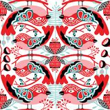 Bezszwowy Wektorowy ptaka wzór z cieniami czerwoni kolory ilustracji