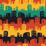 Bezszwowy wektorowy stipes wzór z kolorowym zaokrąglonym kształta pejzażem miejskim royalty ilustracja