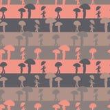 Bezszwowy wektorowy stipes wzór z ludźmi na deszczowym dniu ilustracji