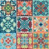 Bezszwowy wektorowy tło kolorowe płytki z marokańczykiem, język arabski, portugalczyków ornamenty Obraz Stock