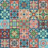 Bezszwowy wektorowy tło kolorowe płytki z marokańczykiem, język arabski, portugalczyków ornamenty Zdjęcie Stock