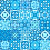Bezszwowy wektorowy tło kolorowe płytki z marokańczykiem, język arabski, portugalczyków ornamenty Fotografia Stock