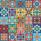Bezszwowy wektorowy tło kolorowe płytki z marokańczykiem, język arabski, portugalczyków ornamenty Obrazy Stock