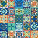 Bezszwowy wektorowy tło kolorowe płytki z marokańczykiem, język arabski, portugalczyków ornamenty Zdjęcie Royalty Free