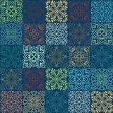 Bezszwowy wektorowy tło kolorowe płytki z marokańczykiem, język arabski, portugalczyków ornamenty Fotografia Royalty Free