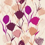 Bezszwowy wektorowy tło z kolorowym ręki nakreśleniem, rysunkiem i Fotografia Stock