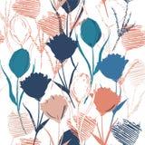 Bezszwowy wektorowy tło z kolorowym ręki nakreśleniem, rysunkiem i Obrazy Royalty Free