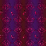 Bezszwowy wektorowy tło z wzorem winogrona, kręceni winogrady, kwiaty i bocian, Obrazy Royalty Free