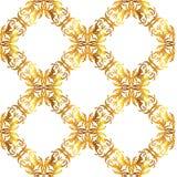 Bezszwowy wektorowy wiktoriański złota tło Kwiecistej tapety barok lub adamaszka wzór ilustracja wektor
