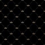 Bezszwowy wektorowy złoto wzór z królewiątko koronami Fotografia Royalty Free