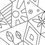 Bezszwowy wektoru wzór, czarny i biały prążkowany asymetryczny geometryczny tło z kwiatem, liść, słońce Druk dla wystroju, tapeta ilustracji