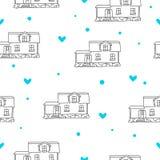 Bezszwowy wektoru wzór domy Zdjęcie Royalty Free