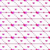 Bezszwowy wektoru wzór, jaskrawy różowy symetryczny tło z sercami royalty ilustracja
