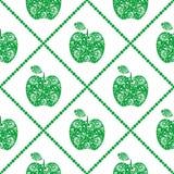 Bezszwowy wektoru wzór, jaskrawych owoc symetryczny tło z zielonymi dekoracyjnymi ornamentacyjnymi jabłkami i rhombus, na bielu Zdjęcia Stock