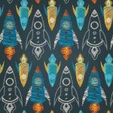Bezszwowy wektoru wzór kolorowi statki kosmiczni Obraz Royalty Free