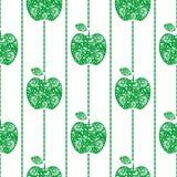 Bezszwowy wektoru wzór na białym tle, jaskrawych owoc symetryczny tło z zielonymi dekoracyjnymi ornamentacyjnymi jabłkami, Fotografia Stock