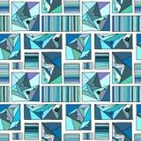 Bezszwowy wektoru wzór, prążkowany geometryczny tło z rhombus, trójboki, linie Druk dla wystroju, tapeta, pakuje, ilustracja wektor