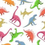 Bezszwowy wektoru wzór różni dinosaury royalty ilustracja