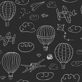 Bezszwowy wektoru wzór, ręka rysuję gorące powietrze baloons latać ilustracja wektor