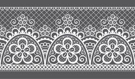 Bezszwowy wektoru wzór - retro ślub koronki projekt, staromodny powtórkowy projekt z kwiatami i zawijasy w bielu na szarość, popi royalty ilustracja
