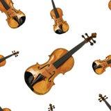 Bezszwowy wektoru wzór: skrzypce Obraz Stock