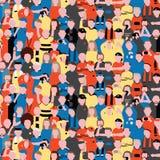 Bezszwowy wektoru wzór tłumów ludzie przy stadionem futbolowym Sportów fan rozwesela na ich zespalają się Deseniową ilustrację w  Zdjęcia Royalty Free