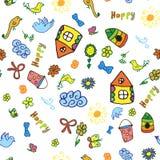 Bezszwowy wektoru wzór z śliczna dziecięca ręka rysującym domem, słońce, chmura, kwiaty, ptaki Fotografia Royalty Free