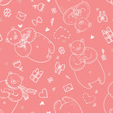 Bezszwowy wektoru wzór z śmiesznymi niedźwiedziami w kreskówka stylu na różowym colour tle Zdjęcia Stock