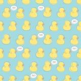 Bezszwowy wektoru wzór z żółtymi dziecko kaczkami Obraz Stock